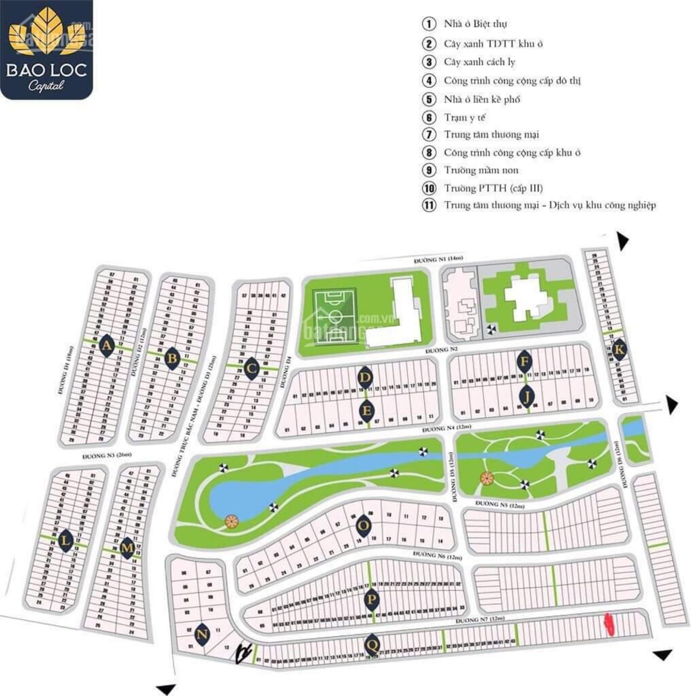 Mặt bằng phân lô khu đô thị Bảo Lộc Capital