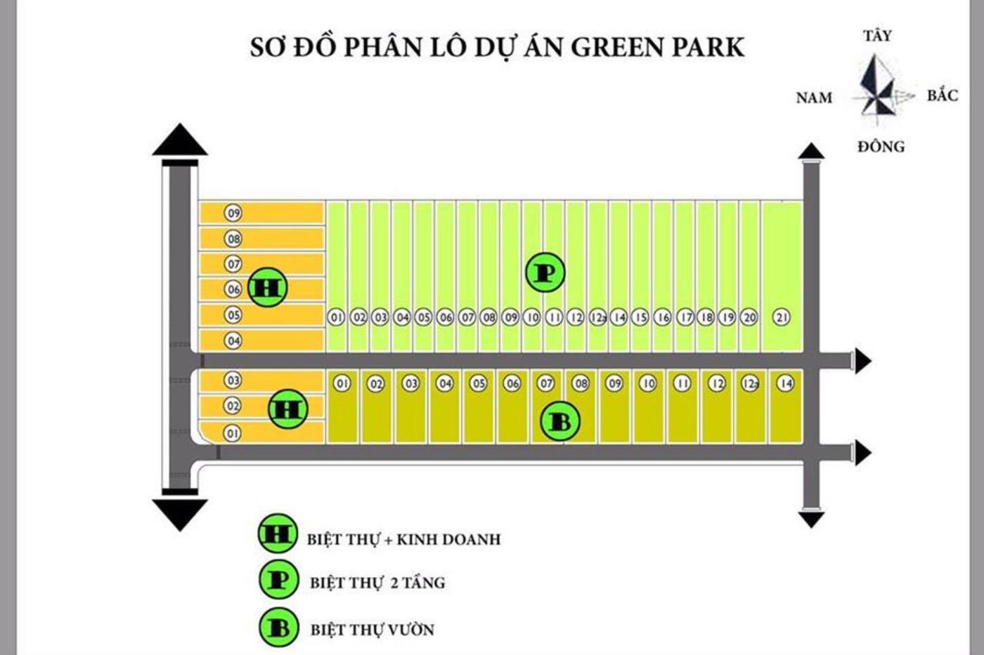 Mặt bằng phân lô khu biệt thự Green Park Bảo Lộc