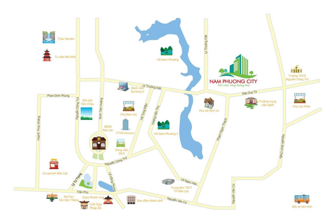 Vị trí của khu đô thị Nam Phương City Bảo Lộc